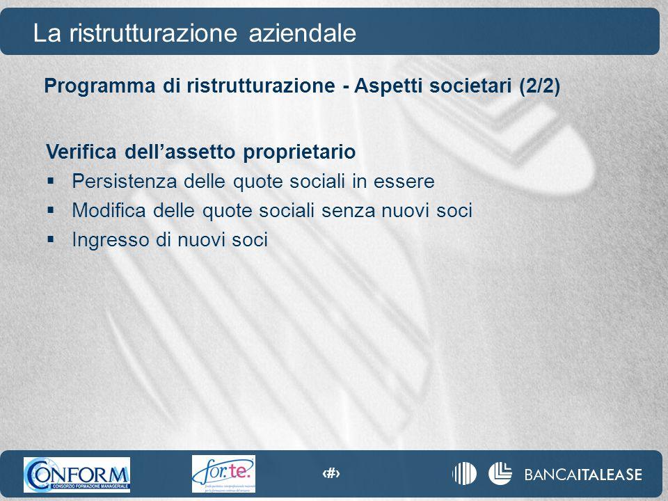 76 Programma di ristrutturazione - Aspetti societari (2/2) La ristrutturazione aziendale Verifica dell'assetto proprietario  Persistenza delle quote