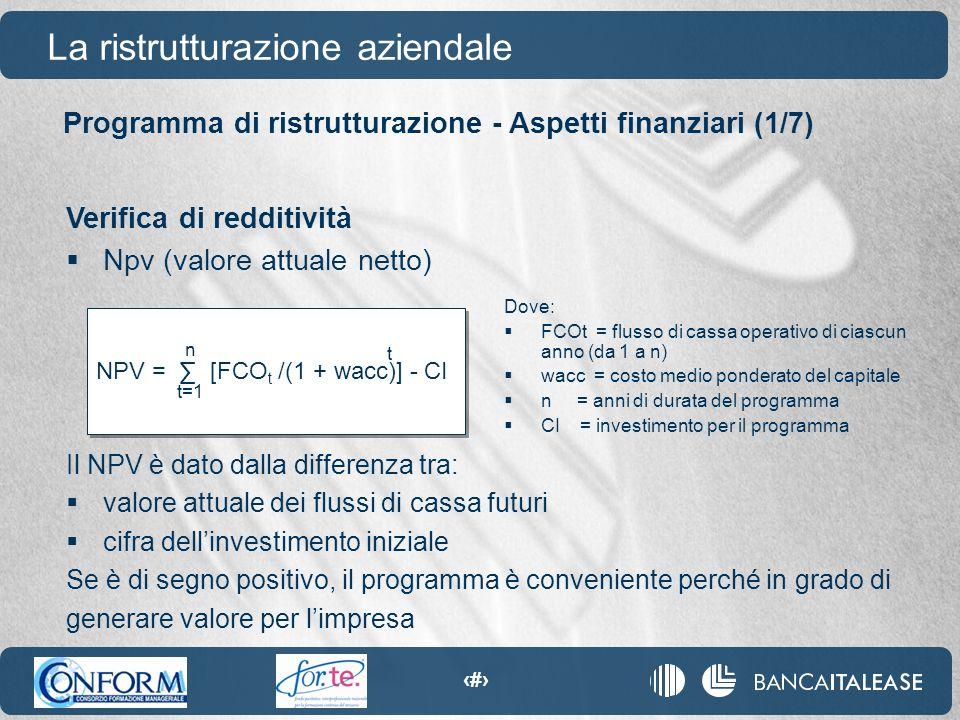 78 NPV = ∑ [FCO t /(1 + wacc)] - CI Programma di ristrutturazione - Aspetti finanziari (1/7) La ristrutturazione aziendale Verifica di redditività  N