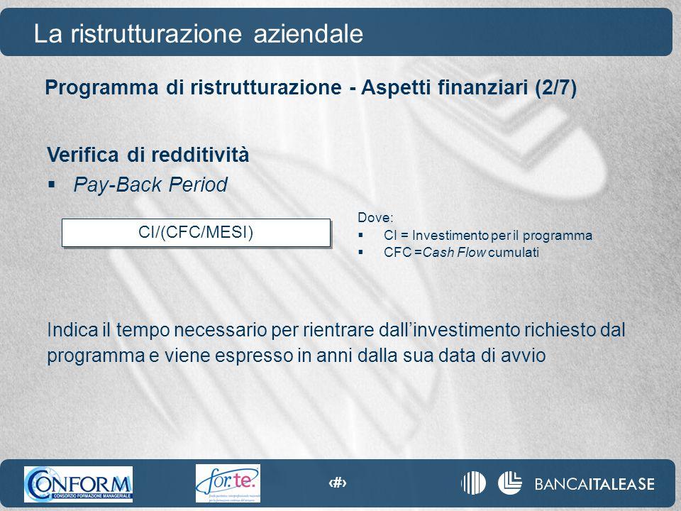 79 CI/(CFC/MESI) Programma di ristrutturazione - Aspetti finanziari (2/7) La ristrutturazione aziendale Verifica di redditività  Pay-Back Period Indi
