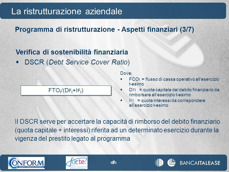 80 FTO t /(D F t +I F t ) Programma di ristrutturazione - Aspetti finanziari (3/7) La ristrutturazione aziendale Verifica di sostenibilità finanziaria