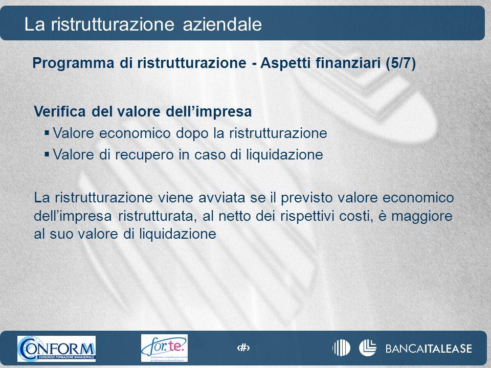 82 La ristrutturazione aziendale Verifica del valore dell'impresa  Valore economico dopo la ristrutturazione  Valore di recupero in caso di liquidaz