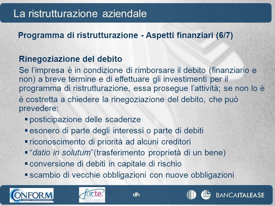 83 La ristrutturazione aziendale Rinegoziazione del debito Se l'impresa è in condizione di rimborsare il debito (finanziario e non) a breve termine e