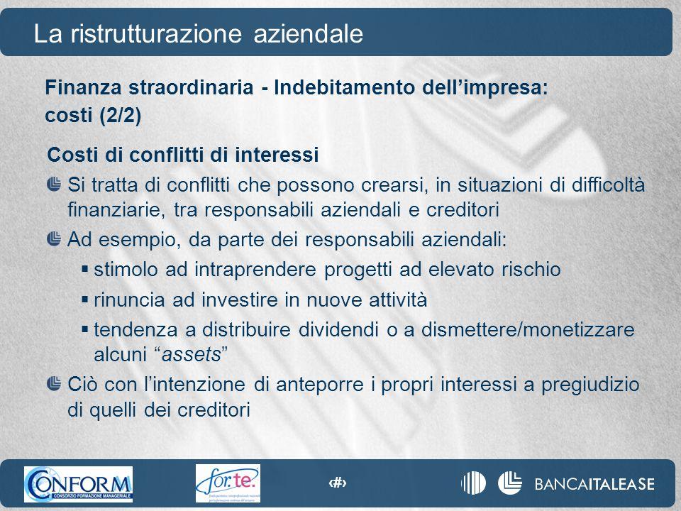 87 La ristrutturazione aziendale Costi di conflitti di interessi Si tratta di conflitti che possono crearsi, in situazioni di difficoltà finanziarie,