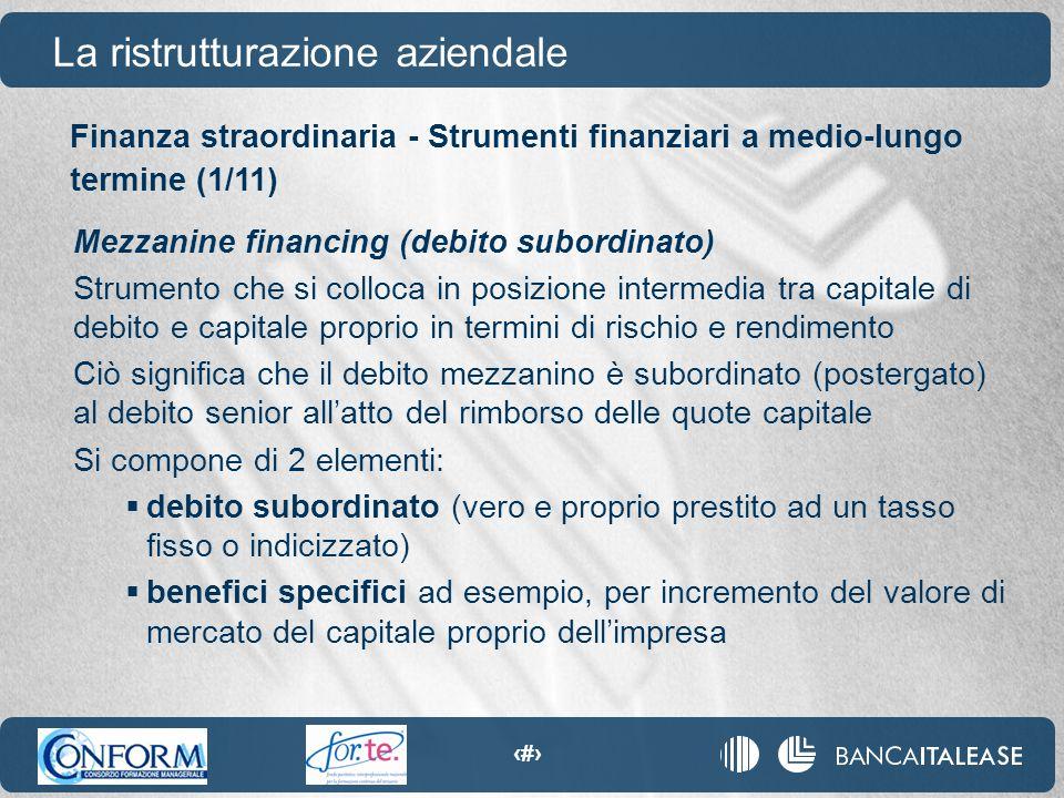 89 La ristrutturazione aziendale Mezzanine financing (debito subordinato) Strumento che si colloca in posizione intermedia tra capitale di debito e ca