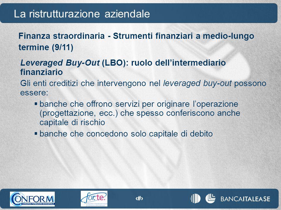 97 La ristrutturazione aziendale Leveraged Buy-Out (LBO): ruolo dell'intermediario finanziario Gli enti creditizi che intervengono nel leveraged buy-o