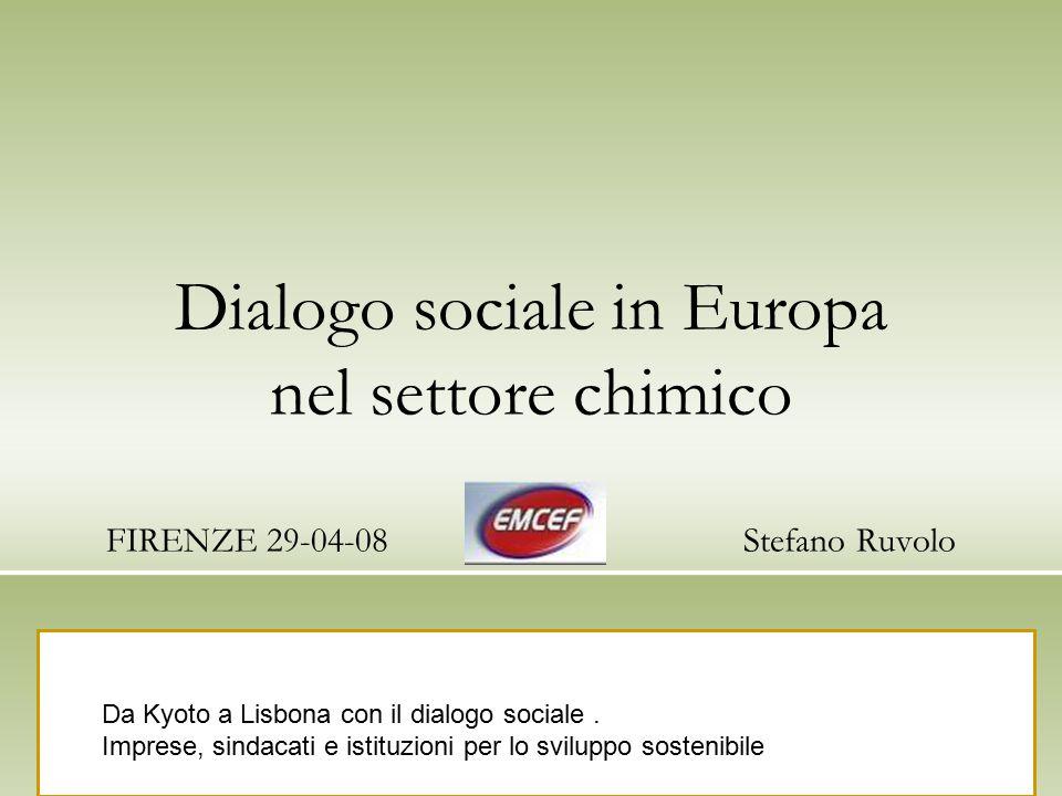 Dialogo sociale in Europa nel settore chimico FIRENZE 29-04-08Stefano Ruvolo Da Kyoto a Lisbona con il dialogo sociale. Imprese, sindacati e istituzio