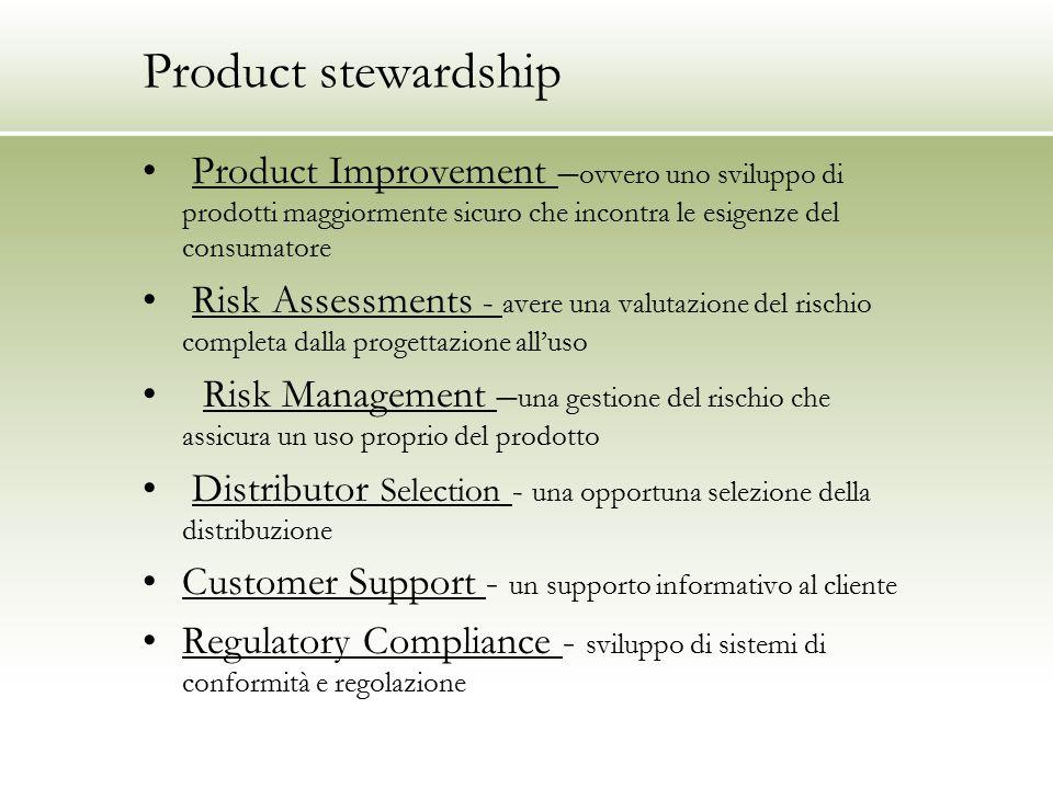 Product stewardship Product Improvement – ovvero uno sviluppo di prodotti maggiormente sicuro che incontra le esigenze del consumatore Risk Assessment