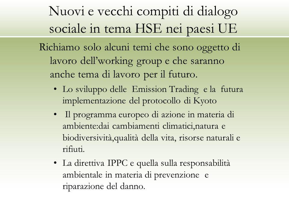 Nuovi e vecchi compiti di dialogo sociale in tema HSE nei paesi UE Richiamo solo alcuni temi che sono oggetto di lavoro dell'working group e che saran