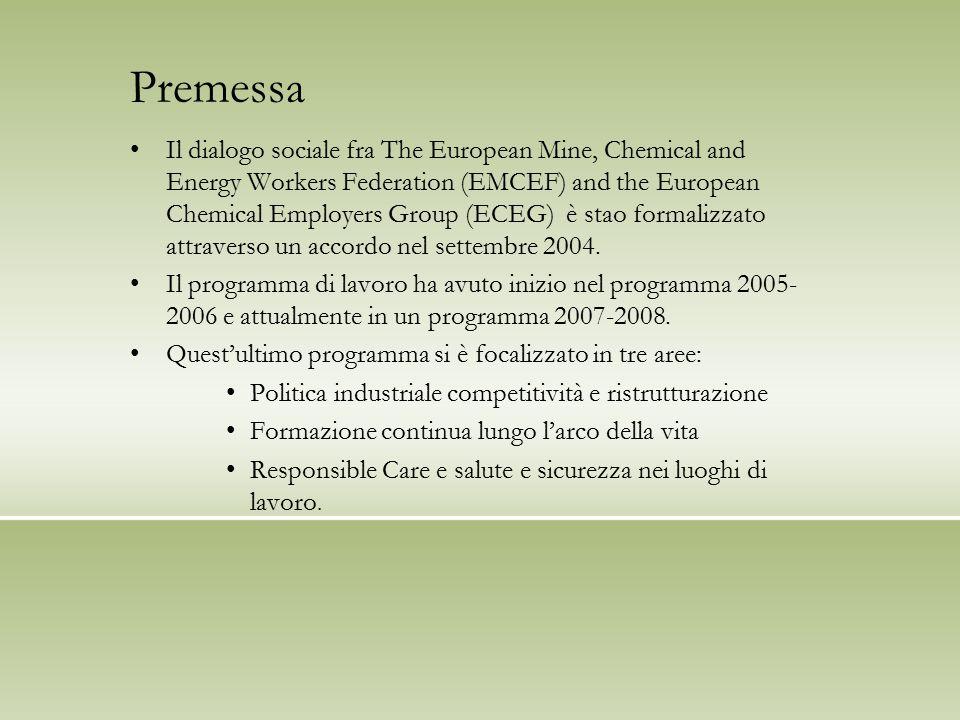 Politica industriale, competitività, occupazione Questo progetto segue la istituzione da parte della Commissione, nel 2007, del gruppo di alto livello sulla industria chimica che a sua volta accompagna la implementazione del regolamento REACH.