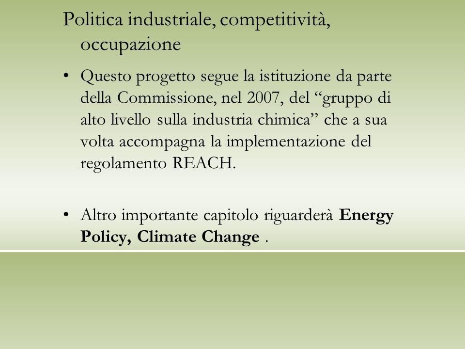 """Politica industriale, competitività, occupazione Questo progetto segue la istituzione da parte della Commissione, nel 2007, del """"gruppo di alto livell"""