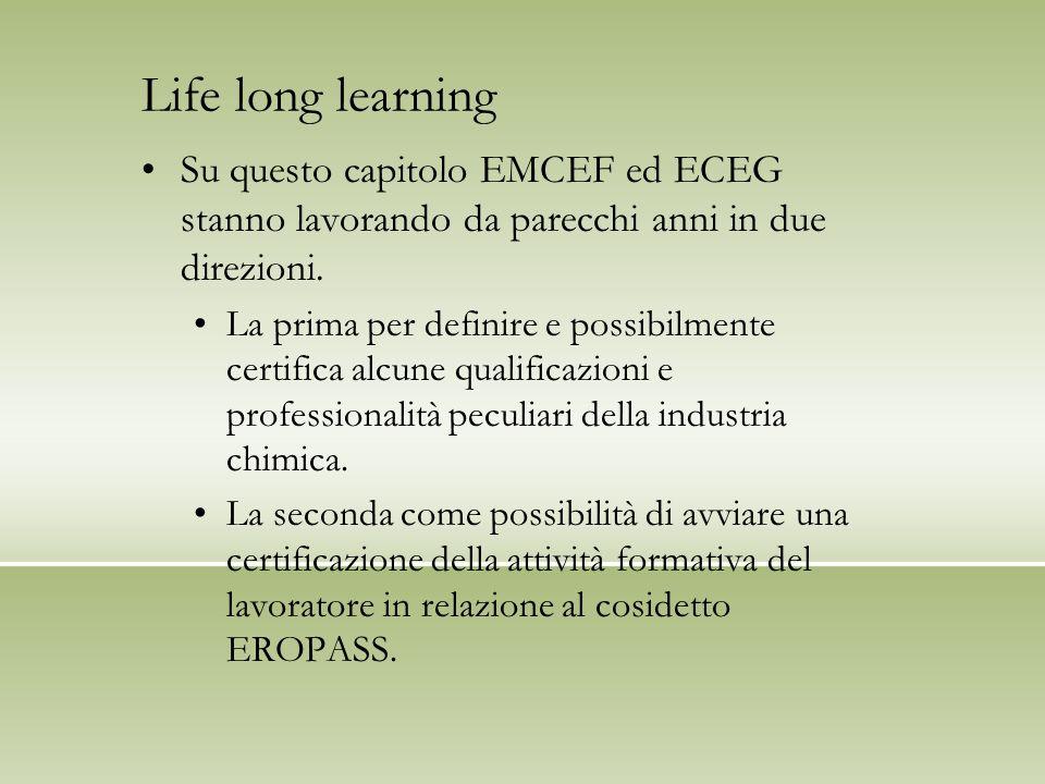 Life long learning Su questo capitolo EMCEF ed ECEG stanno lavorando da parecchi anni in due direzioni.