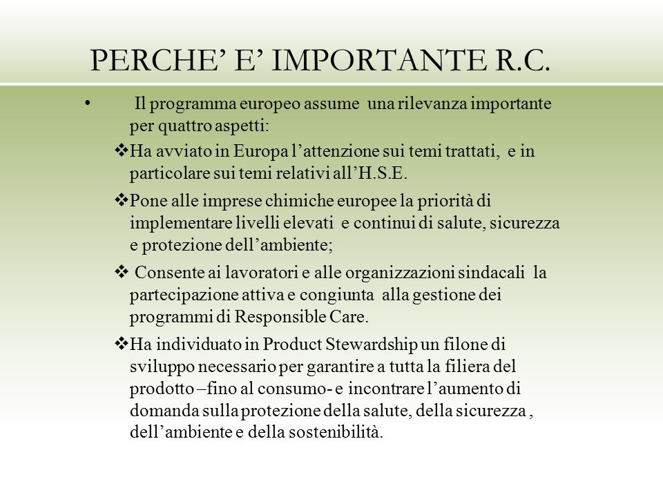 PERCHE' E' IMPORTANTE R.C.