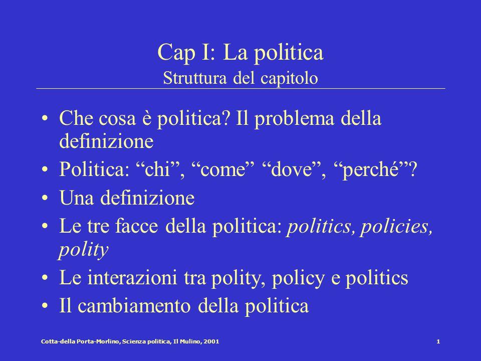 1Cotta-della Porta-Morlino, Scienza politica, Il Mulino, 2001 Cap I: La politica Struttura del capitolo Che cosa è politica.