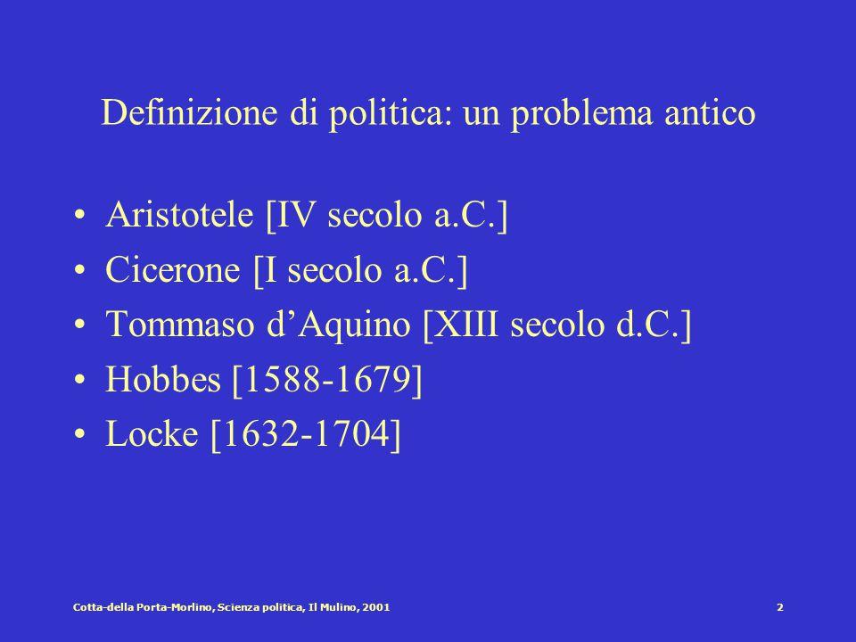1Cotta-della Porta-Morlino, Scienza politica, Il Mulino, 2001 Cap I: La politica Struttura del capitolo Che cosa è politica? Il problema della definiz