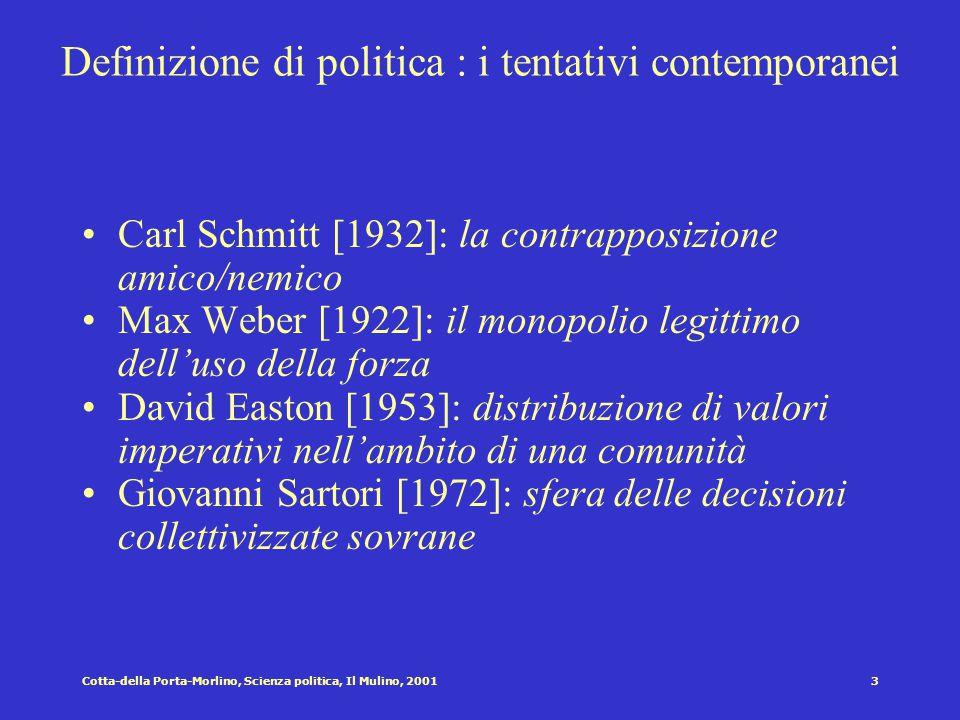 2Cotta-della Porta-Morlino, Scienza politica, Il Mulino, 2001 Definizione di politica: un problema antico Aristotele [IV secolo a.C.] Cicerone [I seco