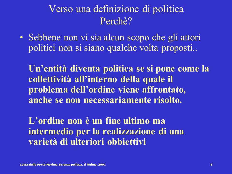 7Cotta-della Porta-Morlino, Scienza politica, Il Mulino, 2001 Verso una definizione di politica Dove? La politica è sempre legata ad una collettività