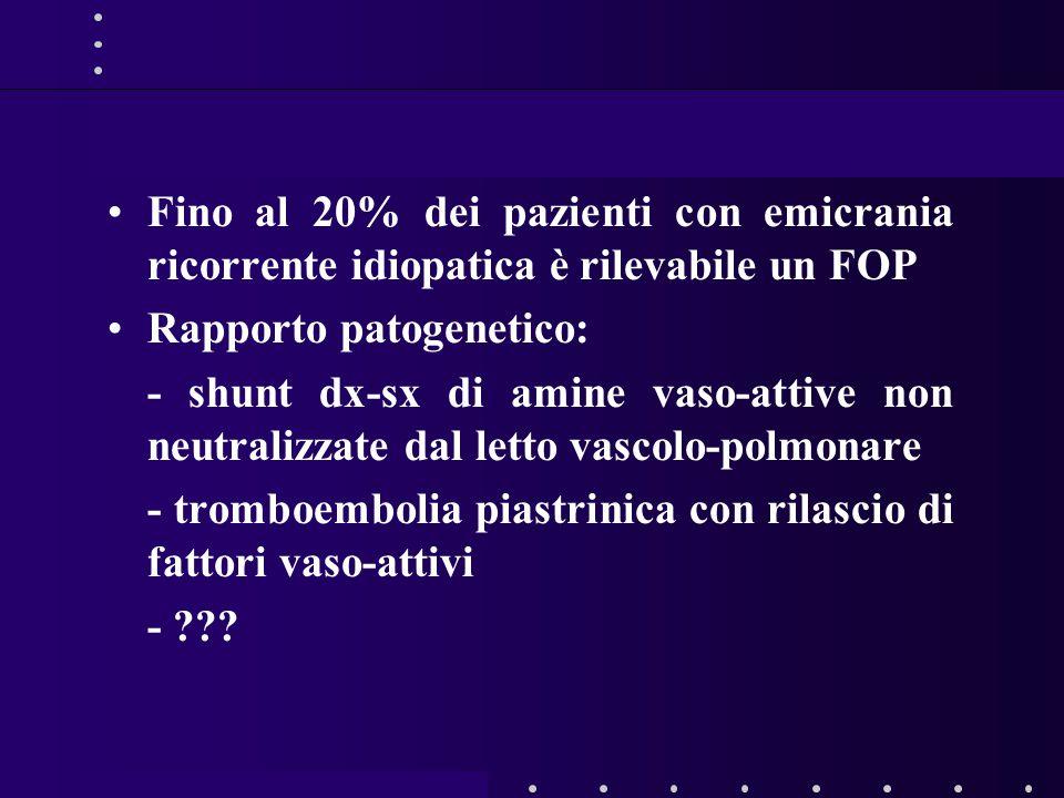 Fino al 20% dei pazienti con emicrania ricorrente idiopatica è rilevabile un FOP Rapporto patogenetico: - shunt dx-sx di amine vaso-attive non neutralizzate dal letto vascolo-polmonare - tromboembolia piastrinica con rilascio di fattori vaso-attivi - ???