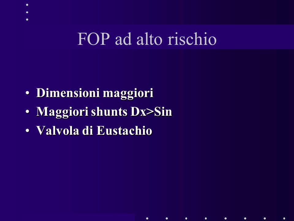 FOP ad alto rischio Dimensioni maggioriDimensioni maggiori Maggiori shunts Dx>SinMaggiori shunts Dx>Sin Valvola di EustachioValvola di Eustachio