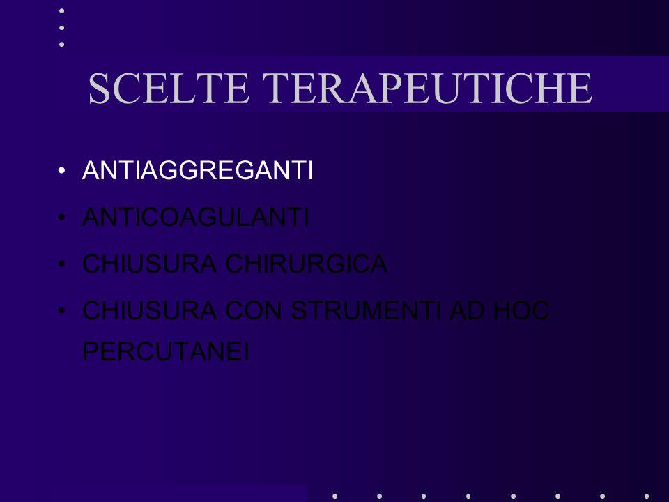 SCELTE TERAPEUTICHE ANTIAGGREGANTI ANTICOAGULANTI CHIUSURA CHIRURGICA CHIUSURA CON STRUMENTI AD HOC PERCUTANEI