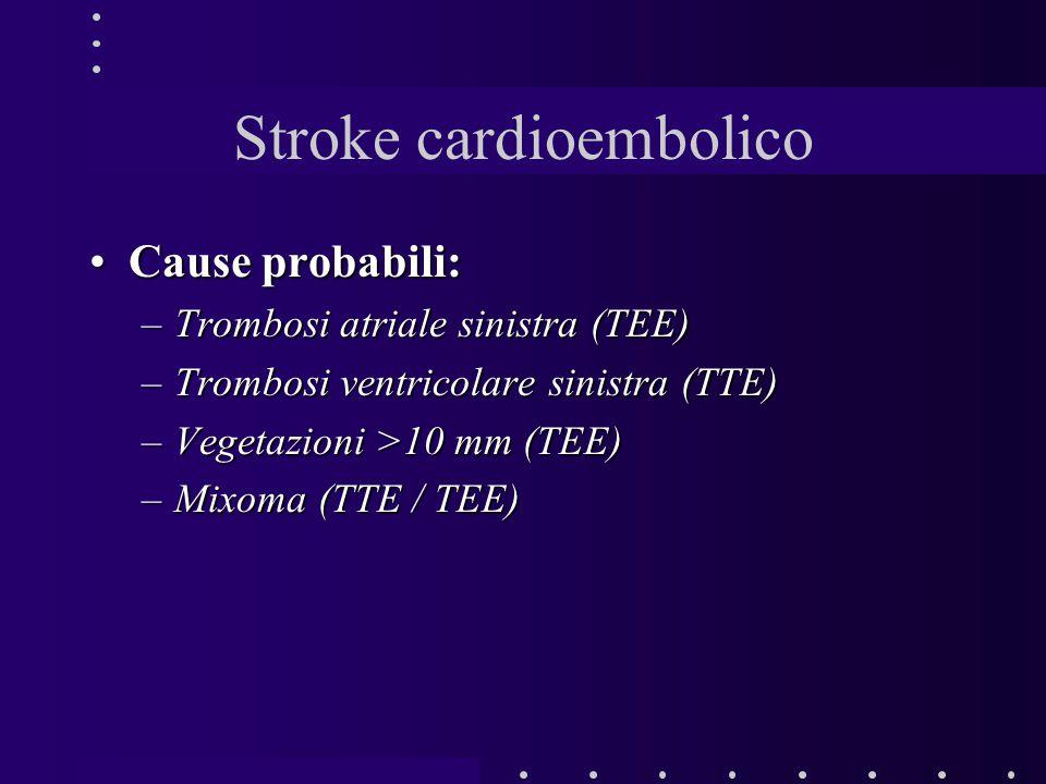 Cause probabili:Cause probabili: –Trombosi atriale sinistra (TEE) –Trombosi ventricolare sinistra (TTE) –Vegetazioni >10 mm (TEE) –Mixoma (TTE / TEE)