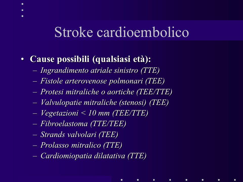 Cause possibili (qualsiasi età):Cause possibili (qualsiasi età): –Ingrandimento atriale sinistro (TTE) –Fistole arterovenose polmonari (TEE) –Protesi