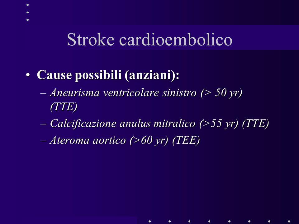 Stroke cardioembolico Cause possibili (anziani):Cause possibili (anziani): –Aneurisma ventricolare sinistro (> 50 yr) (TTE) –Calcificazione anulus mit