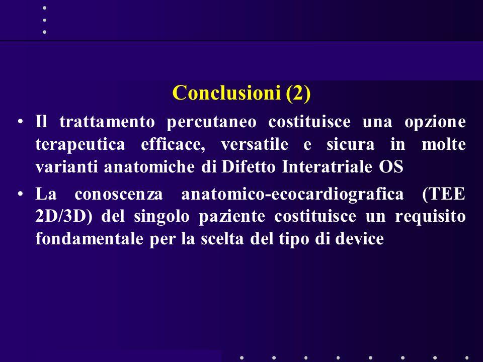Conclusioni (2) Il trattamento percutaneo costituisce una opzione terapeutica efficace, versatile e sicura in molte varianti anatomiche di Difetto Interatriale OS La conoscenza anatomico-ecocardiografica (TEE 2D/3D) del singolo paziente costituisce un requisito fondamentale per la scelta del tipo di device