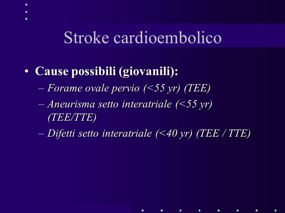 Stroke cardioembolico Cause possibili (giovanili):Cause possibili (giovanili): –Forame ovale pervio (<55 yr) (TEE) –Aneurisma setto interatriale (<55