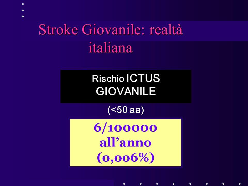 Rischio ICTUS GIOVANILE (<50 aa) Stroke Giovanile: realtà italiana 6/100000 all'anno (o,oo6%)