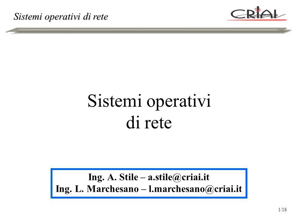 Sistemi operativi di rete Ing. A. Stile – a.stile@criai.it Ing.