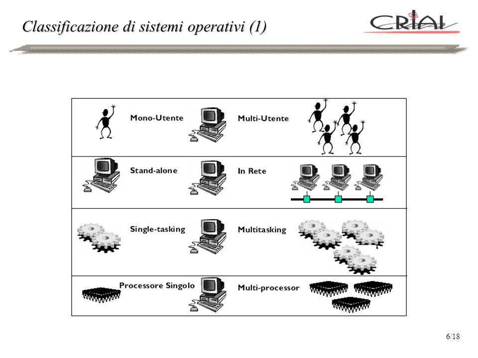Classificazione di sistemi operativi (2) 7/18