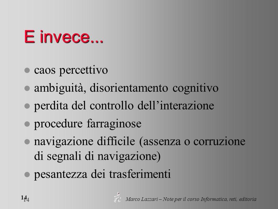 Marco Lazzari – Note per il corso Informatica, reti, editoria 14 E invece... l caos percettivo l ambiguità, disorientamento cognitivo l perdita del co