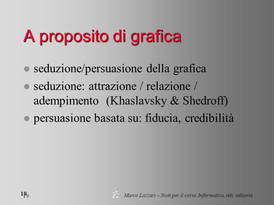 Marco Lazzari – Note per il corso Informatica, reti, editoria 19 A proposito di grafica l seduzione/persuasione della grafica l seduzione: attrazione