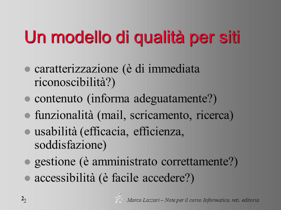 Marco Lazzari – Note per il corso Informatica, reti, editoria 2 2 Un modello di qualità per siti l caratterizzazione (è di immediata riconoscibilità?)