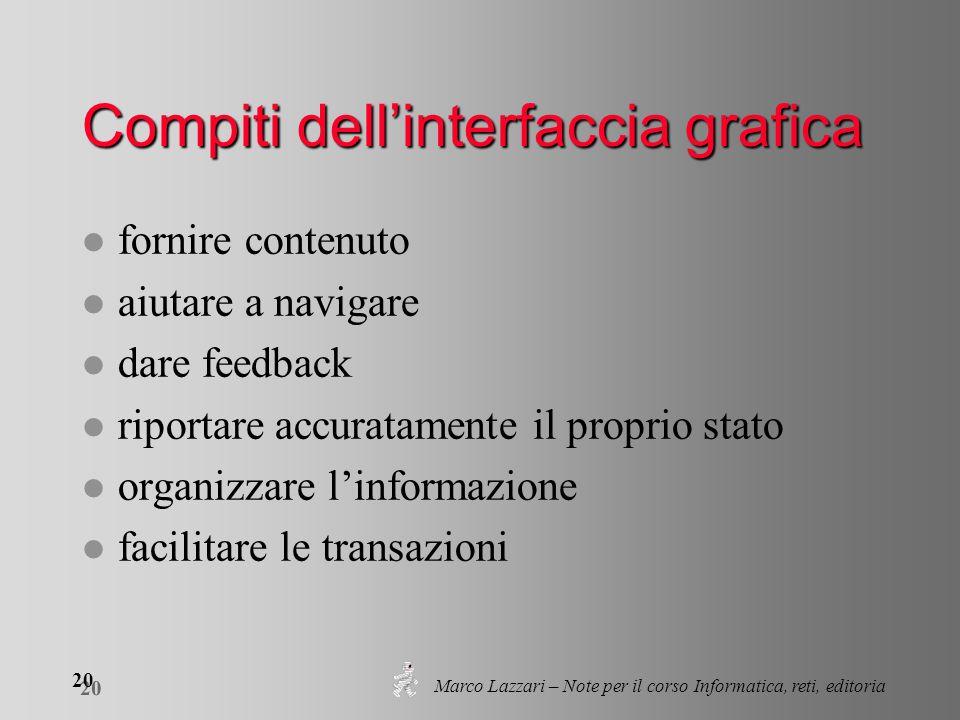 Marco Lazzari – Note per il corso Informatica, reti, editoria 20 Compiti dell'interfaccia grafica l fornire contenuto l aiutare a navigare l dare feed