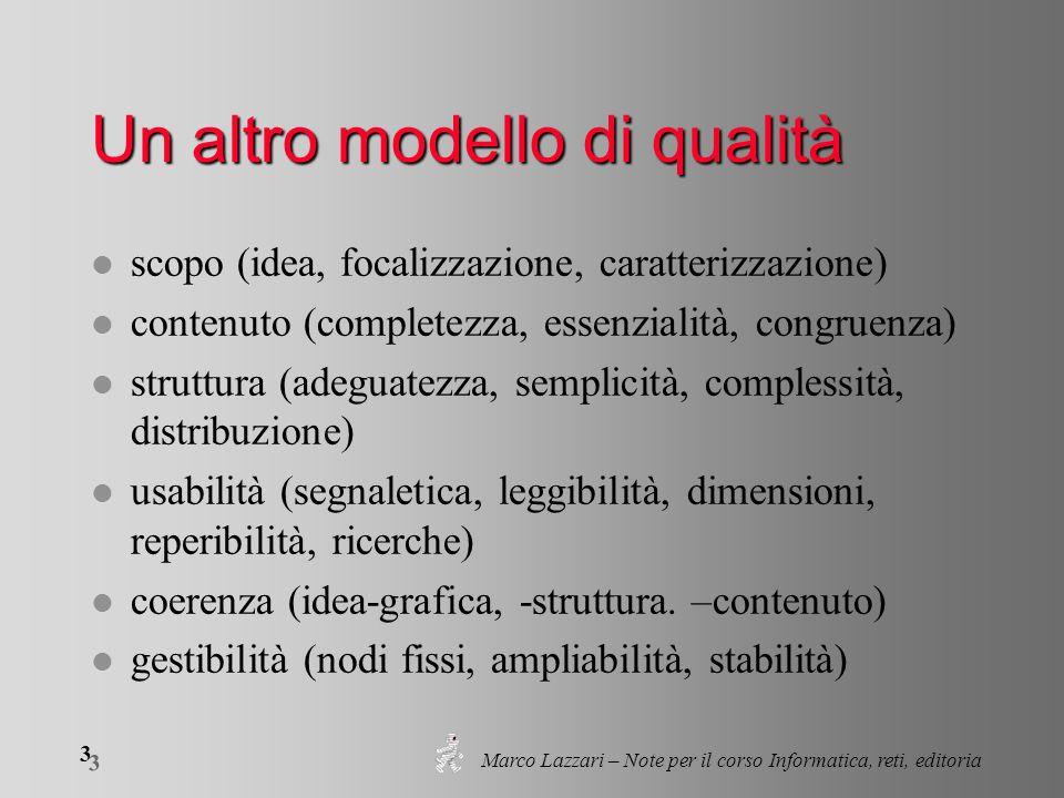 Marco Lazzari – Note per il corso Informatica, reti, editoria 3 3 Un altro modello di qualità l scopo (idea, focalizzazione, caratterizzazione) l cont