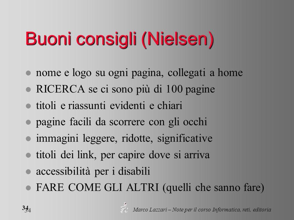 Marco Lazzari – Note per il corso Informatica, reti, editoria 34 Buoni consigli (Nielsen) l nome e logo su ogni pagina, collegati a home l RICERCA se