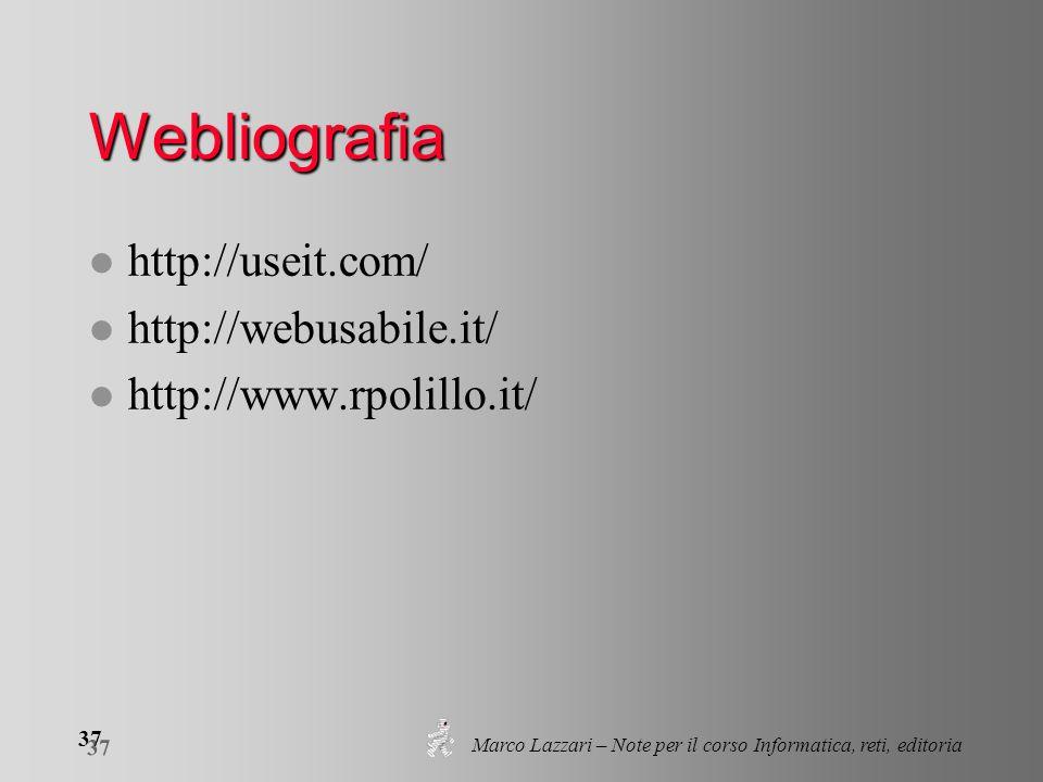 Marco Lazzari – Note per il corso Informatica, reti, editoria 37 Webliografia l http://useit.com/ l http://webusabile.it/ l http://www.rpolillo.it/