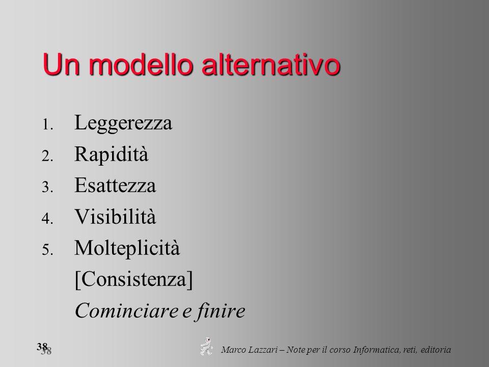 Marco Lazzari – Note per il corso Informatica, reti, editoria 38 Un modello alternativo 1. Leggerezza 2. Rapidità 3. Esattezza 4. Visibilità 5. Moltep