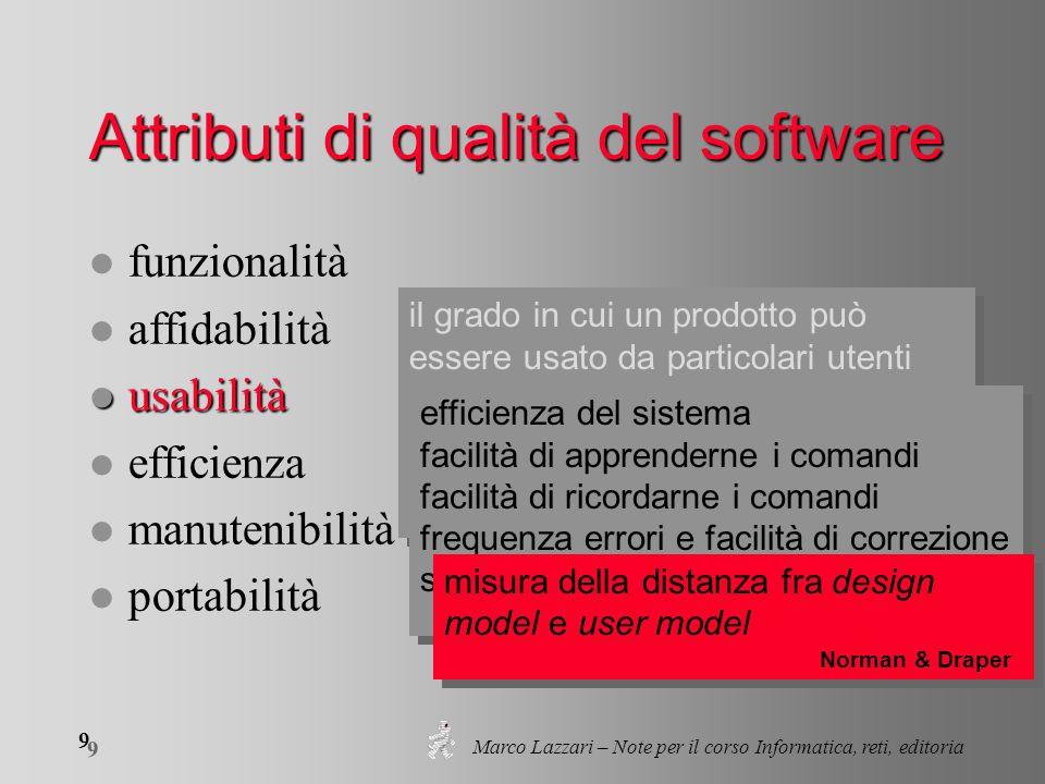 Marco Lazzari – Note per il corso Informatica, reti, editoria 9 9 il grado in cui un prodotto può essere usato da particolari utenti per raggiungere c