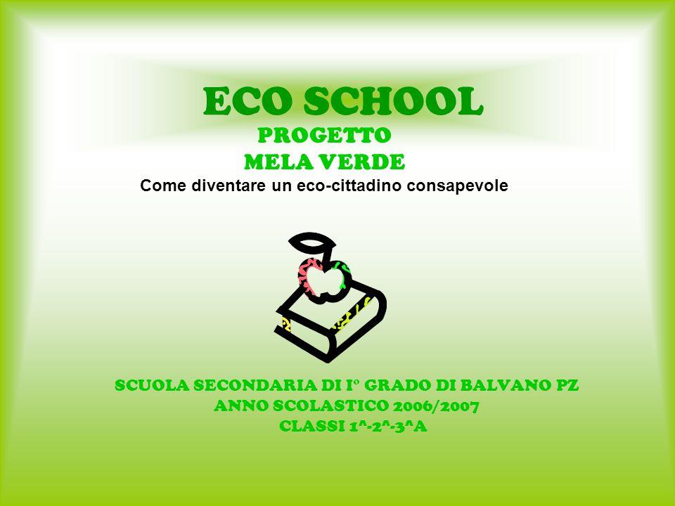 ECO SCHOOL SCUOLA SECONDARIA DI I° GRADO DI BALVANO PZ ANNO SCOLASTICO 2006/2007 CLASSI 1^-2^-3^A PROGETTO MELA VERDE Come diventare un eco-cittadino consapevole