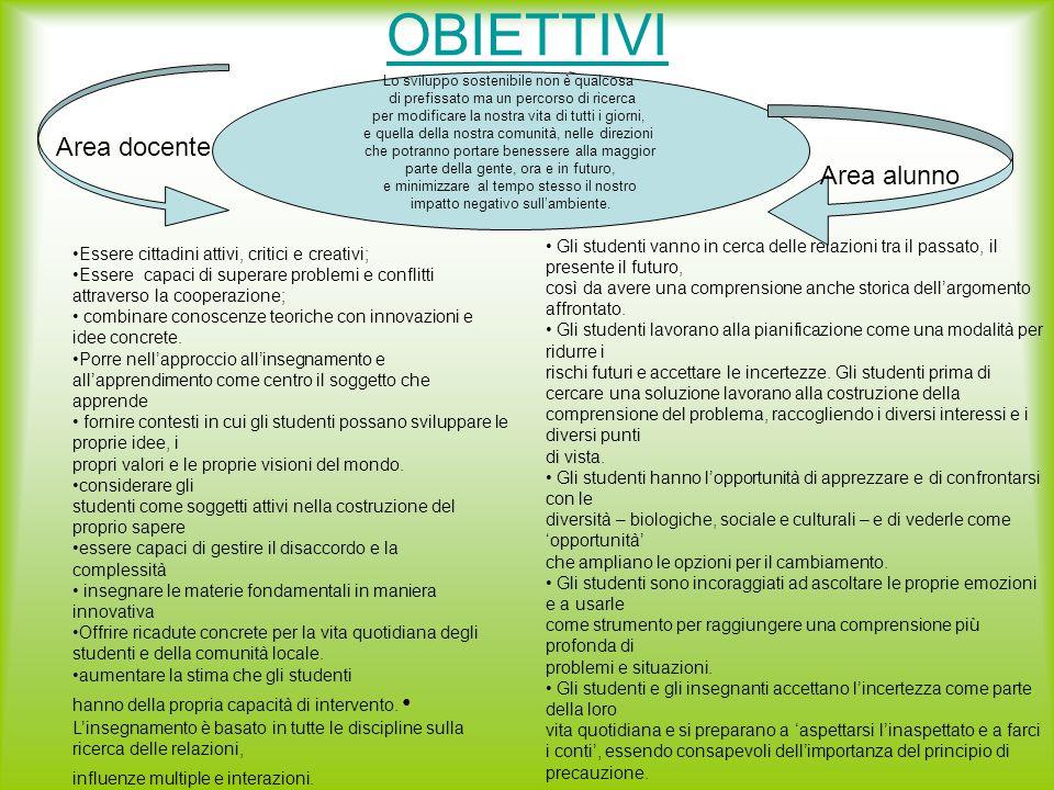 OBIETTIVI Essere cittadini attivi, critici e creativi; Essere capaci di superare problemi e conflitti attraverso la cooperazione; combinare conoscenze teoriche con innovazioni e idee concrete.