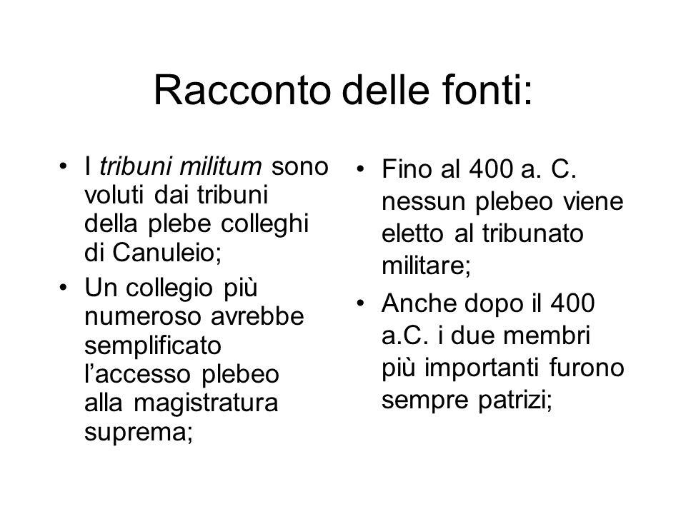 Racconto delle fonti: I tribuni militum sono voluti dai tribuni della plebe colleghi di Canuleio; Un collegio più numeroso avrebbe semplificato l'accesso plebeo alla magistratura suprema; Fino al 400 a.