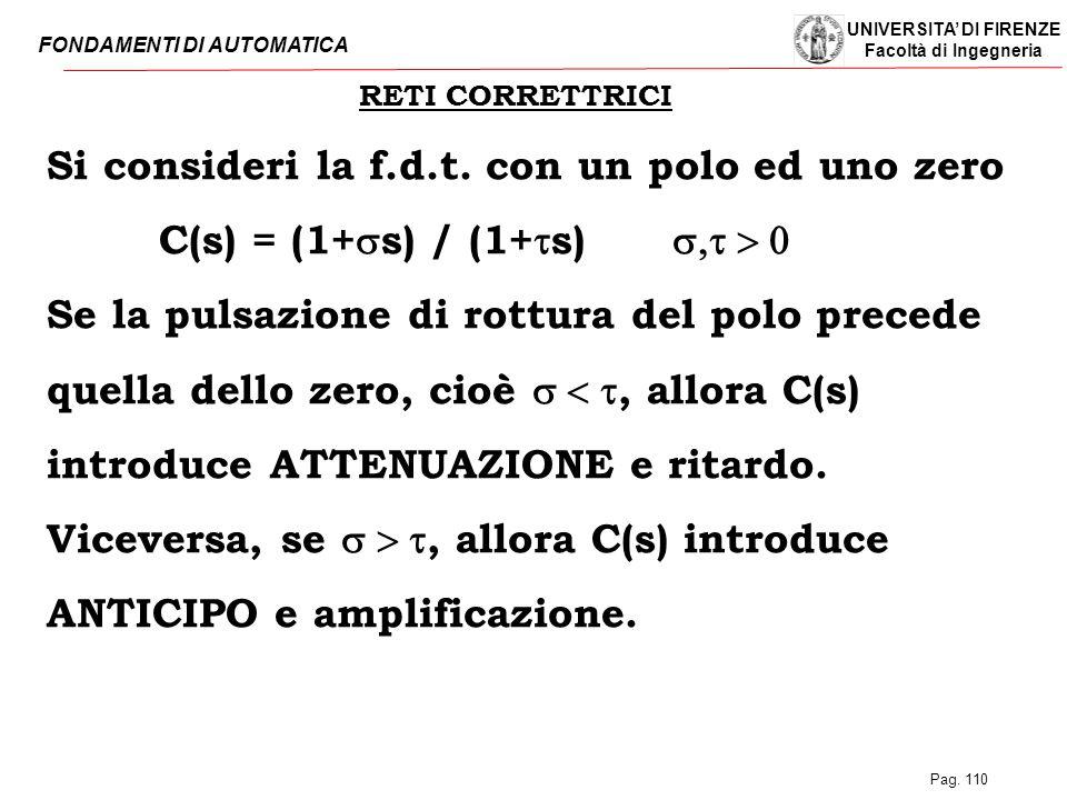 UNIVERSITA' DI FIRENZE Facoltà di Ingegneria FONDAMENTI DI AUTOMATICA Pag. 110 RETI CORRETTRICI Si consideri la f.d.t. con un polo ed uno zero C(s) =