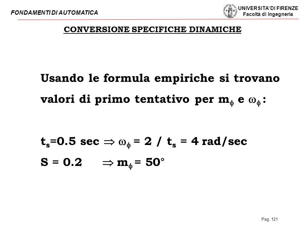 UNIVERSITA' DI FIRENZE Facoltà di Ingegneria FONDAMENTI DI AUTOMATICA Pag. 121 CONVERSIONE SPECIFICHE DINAMICHE Usando le formula empiriche si trovano