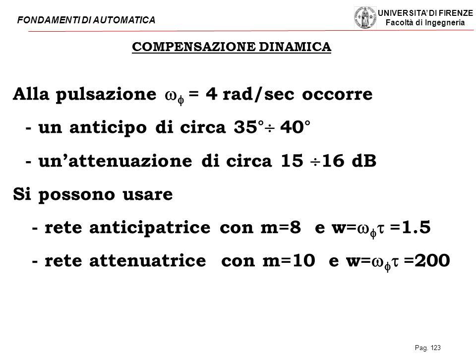 UNIVERSITA' DI FIRENZE Facoltà di Ingegneria FONDAMENTI DI AUTOMATICA Pag. 123 COMPENSAZIONE DINAMICA Alla pulsazione    = 4  rad/sec occorre - un
