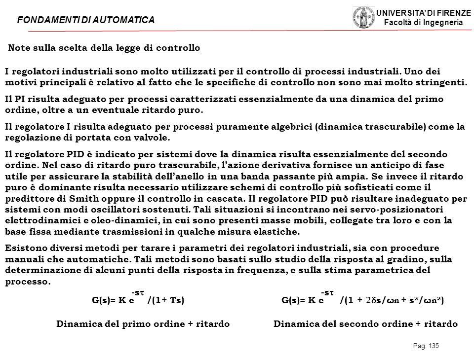 UNIVERSITA' DI FIRENZE Facoltà di Ingegneria FONDAMENTI DI AUTOMATICA Pag. 135 Note sulla scelta della legge di controllo I regolatori industriali son