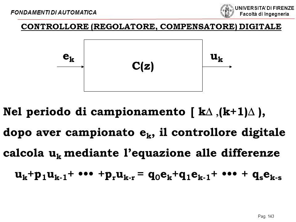 UNIVERSITA' DI FIRENZE Facoltà di Ingegneria FONDAMENTI DI AUTOMATICA Pag. 143 CONTROLLORE (REGOLATORE, COMPENSATORE) DIGITALE C(z) ukuk ekek Nel peri