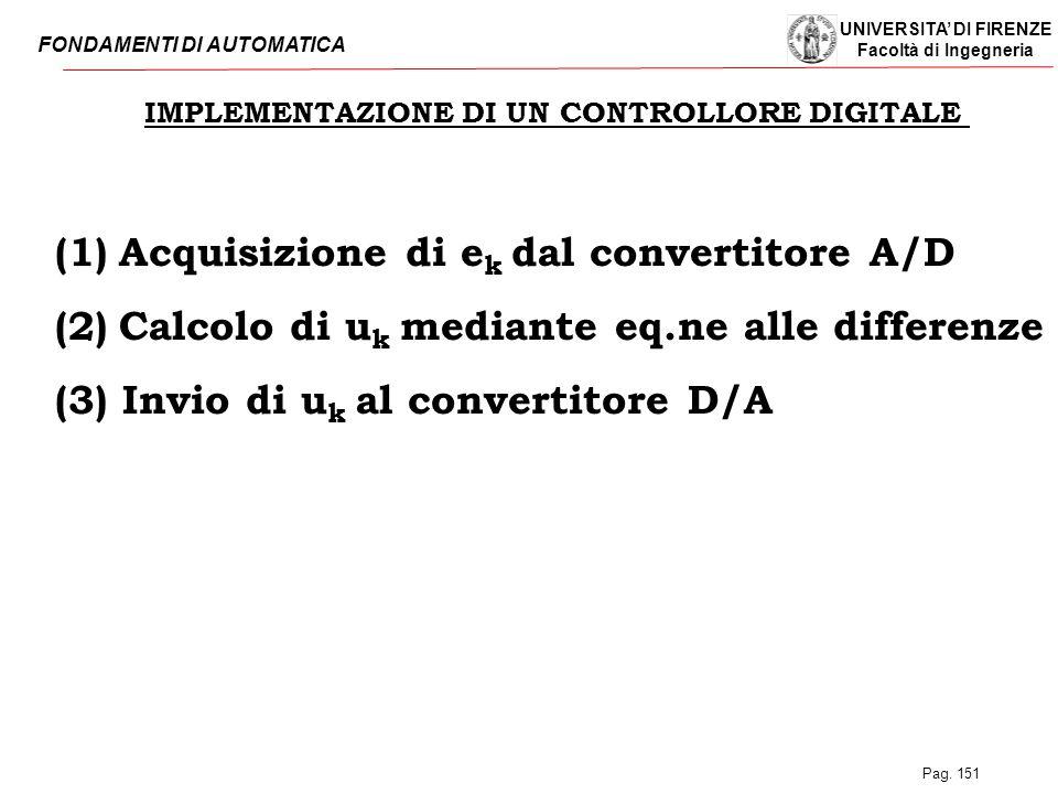 UNIVERSITA' DI FIRENZE Facoltà di Ingegneria FONDAMENTI DI AUTOMATICA Pag. 151 IMPLEMENTAZIONE DI UN CONTROLLORE DIGITALE (1)  Acquisizione di e k da