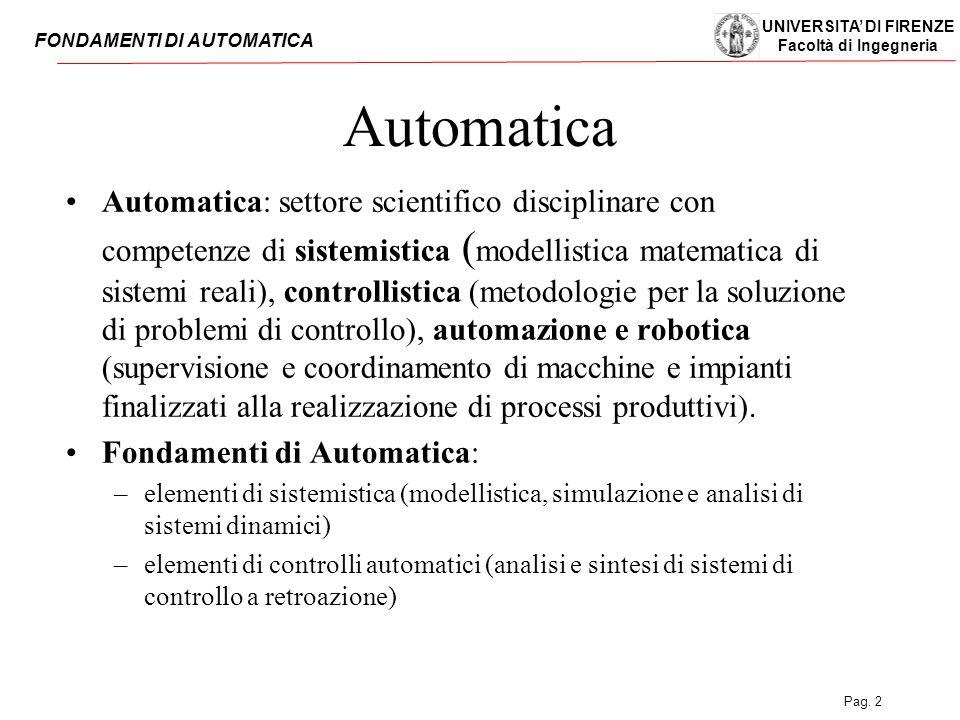 UNIVERSITA' DI FIRENZE Facoltà di Ingegneria FONDAMENTI DI AUTOMATICA Pag. 2 Automatica Automatica: settore scientifico disciplinare con competenze di
